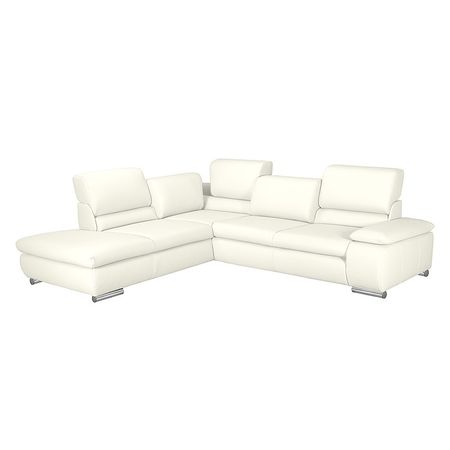 Fredriks   Ecksofa Masca I 2,5-Sitzer Weiß Echtleder 273x78x235 cm mit Schlaffunktion Weiß 273 cm x 78 cm x 235 cm
