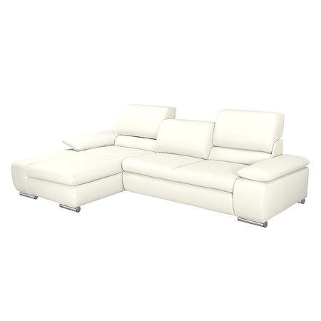 Fredriks   Ecksofa Masca II 2,5-Sitzer Weiß Echtleder 287x78x164 cm (BxHxT) mit Schlaffunktion Modern Weiß 287 cm x 78 cm x 164 cm