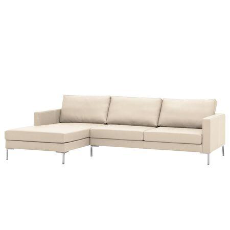 Fredriks   Ecksofa Portobello Creme Echtleder 251x75x155 cm (BxHxT) Modern Creme 251 cm x 75 cm x 155 cm