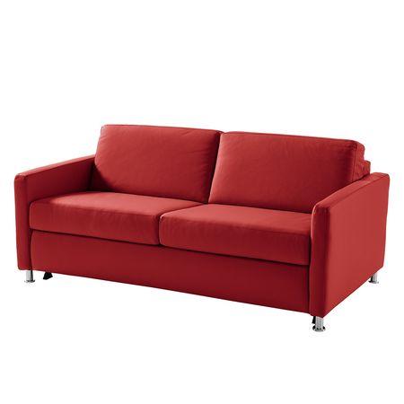 Fredriks   Schlafsofa Lierde I Rot Echtleder 175x91x103 cm mit Schlaffunktion Rot 175 cm x 91 cm x 103 cm