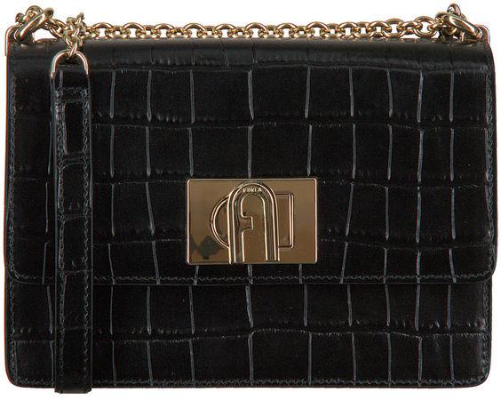 Furla  Umhängetasche 1927 Mini Crossbody Schwarz Damen Damen Größe 0 Leder schwarz