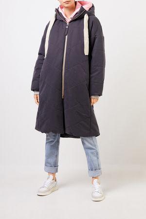 G-LAB  - Mantel 'Blossom' mit Kapuze Blaugrau