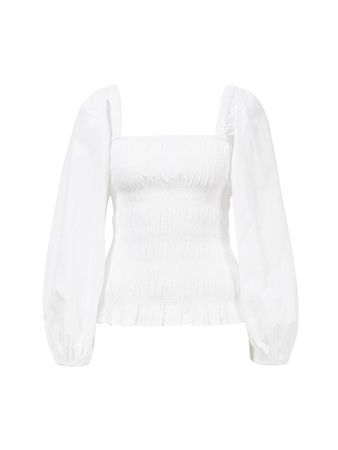Ganni  - Baumwoll-Bluse mit Kasten-Ausschnitt Weiß weiss