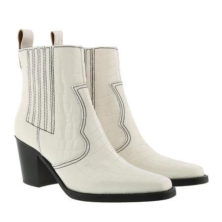 Ganni  Boots  -  Western Boot Belly Croc Egret  - in weiß  -  Boots für Damen braun