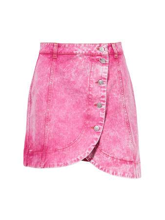 Ganni  - Mini-Rock im Washed Denim Fuchsia 100% Baumwolle rosa