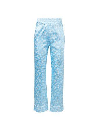Ganni  - Seidenhose mit floralem Muster Hellblau blau
