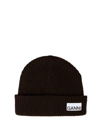 Ganni  - Strickmütze aus recycelter Wolle Dunkelbraun