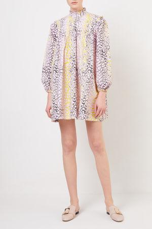 Ganni  - Kurzes Kleid mit Leoprint Violett/Gelb 100% Baumwolle