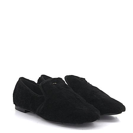 Giuseppe Zanotti Loafer SINF Kalbsleder  Kaninchenfell Textil Logo schwarz schwarz