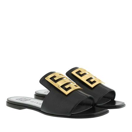 Givenchy  Sandalen  -  4G Sandals Grained Leather Black  - in schwarz  -  Sandalen für Damen schwarz