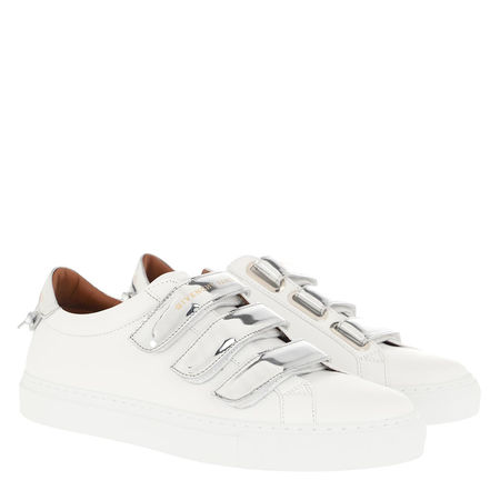 Givenchy  Sneakers  -  Mirror Effect Sneakers Leather White Silver  - in weiß  -  Sneakers für Damen grau