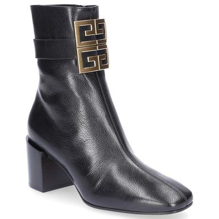 Givenchy Stiefeletten BE6000 Kalbsleder Clamp-Schnalle Logo schwarz grau