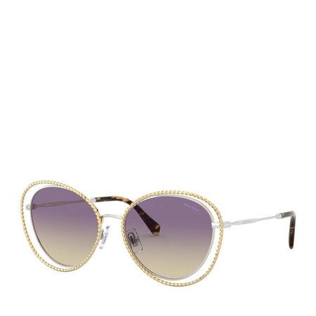 Miu Miu  Sonnenbrille  -  Women Sunglasses Core Collection 0MU 59VS Silver/Gold  - in gold  -  Sonnenbrille für Damen grau