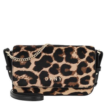 DKNY  Umhängetasche  -  Kim Haircalf Flap Demi Crossbody Bag Black/Gold  - in schwarz  -  Umhängetasche für Damen schwarz