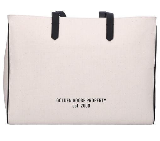 Golden Goose  Handtasche CALIFORNIA EAST-WEST Canvas Logo beige schwarz