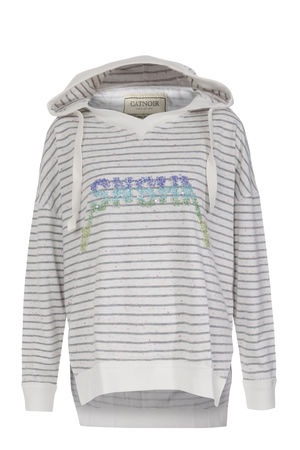 Catnoir CAT NOIR Sweatshirt mit Pailletten und Mélierung Weiß/Grau Damen Farbe: weiß/grau gestreift verfügbare Größe: M grau