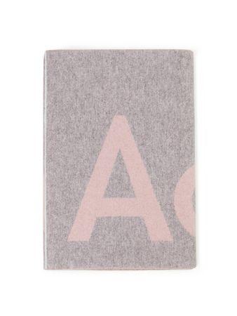 Acne Studios  - Woll-Schal 'Toronty' mit Logoprint Rosa/Grau grau