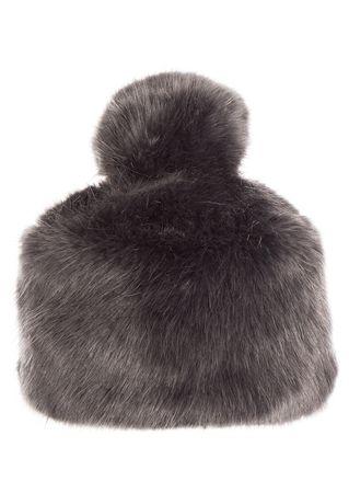 Grevi Haube aus Fake-Fur in Anthrazit grau