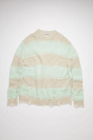 Acne Studios  FN-WN-KNIT000347 Mint/grey Block stripe sweater braun