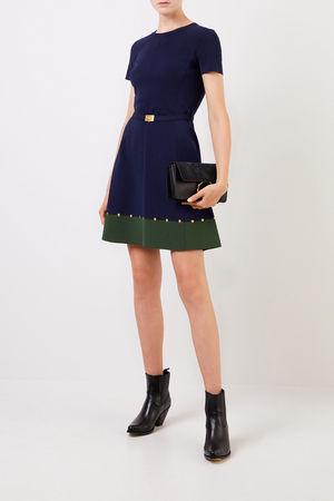 Tory Burch  - Kleid mit Nieten-Details Marineblau/Grün