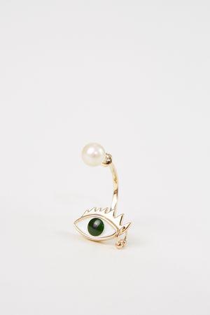 Delfina Delettrez  - Ohrring 'Eye Piercing' Gold/Grün