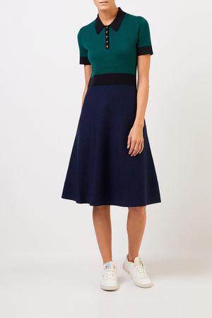 Tory Burch  - Woll-Strickkleid mit Kragen Blau/Grün