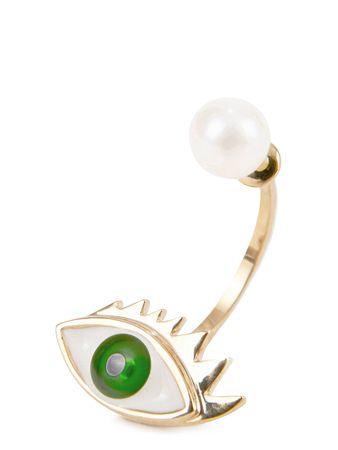 Delfina Delettrez  - Ohrring mit Perle 'Eye' Gold/Grün beige