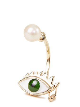 Delfina Delettrez  - Ohrring 'Eye Piercing' Gold/Grün beige