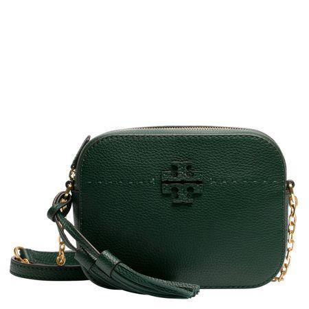 Tory Burch ® - Schultertasche aus Leder in Dunkelgrün/Grün für Damen, Größe UNI grau