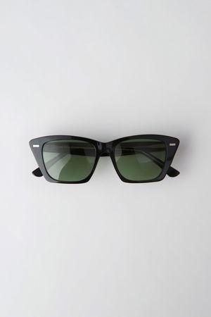 Acne Studios  Ingridh Schwarz/Gelb/Grün Katzenaugen-Sonnenbrille grau