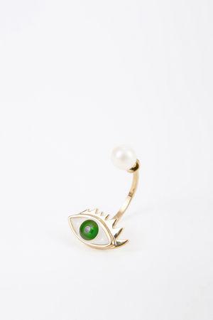 Delfina Delettrez  - Ohrring mit Perle 'Eye' Gold/Grün weiss