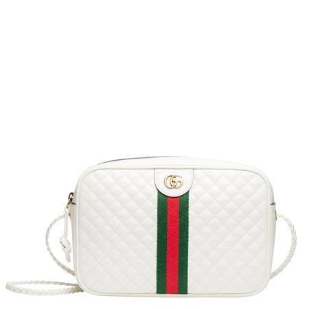 Gucci ® - Schultertasche aus Leder in Weiß für Damen, Größe UNI grau