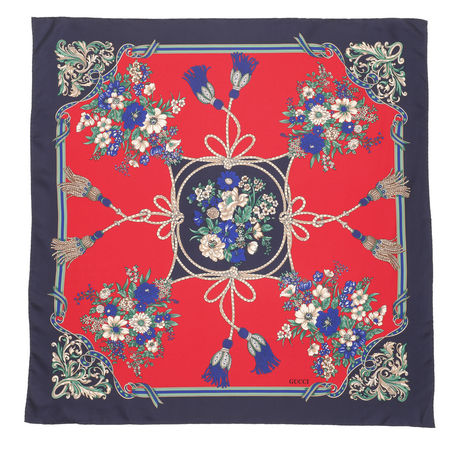 Gucci  Accessoire  -  Flower Pattern Scarf Blue  - in blau  -  Accessoire für Damen grau