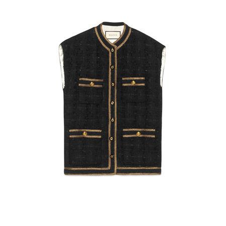 Gucci Ärmellose Weste aus Tweed mit Bandbesatz schwarz