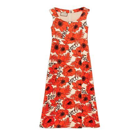 Gucci Ärmelloses Kleid aus Seide mit Mohnblumen-Print