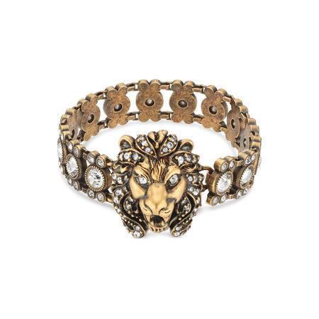 Gucci Armband mit kristallbesetztem Löwenkopf braun