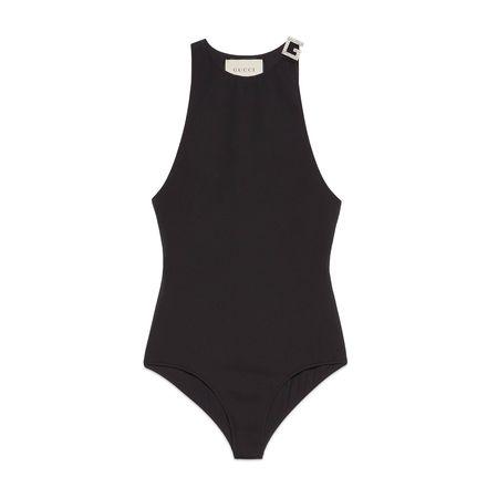 Gucci Badeanzug mit SquareG aus Kristall schwarz