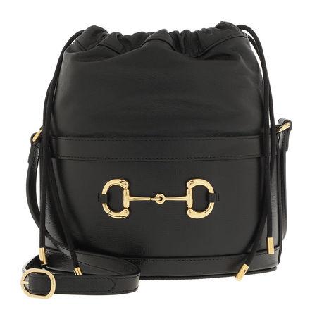 Gucci  Beuteltasche  -  Horsebit Bucket Bag Black  - in schwarz  -  Beuteltasche für Damen grau