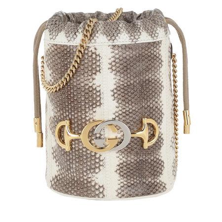 Gucci  Beuteltasche  -  Zumi Mini Bucket Bag Snakeskin Grey  - in grau  -  Beuteltasche für Damen braun