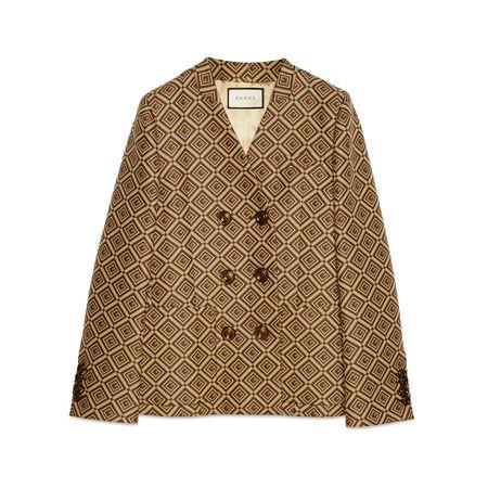 Gucci Blazer aus Jacquard mit GGSchachbrettmuster braun