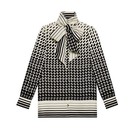 Gucci Bluse aus Seide mit geometrischem GPrint grau
