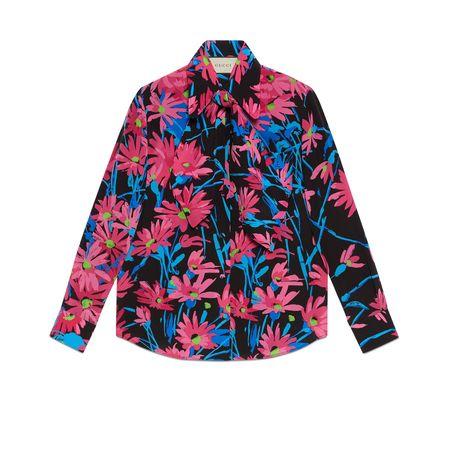 Gucci Bluse aus Seide mit Print von Ken Scott schwarz