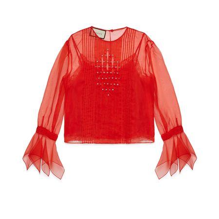 Gucci Bluse aus Seidenorgandy mit Kristallen