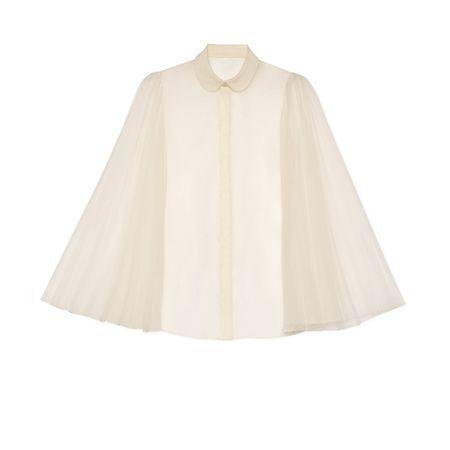 Gucci Bluse aus Seidenorgandy mit plissierten Ärmeln braun