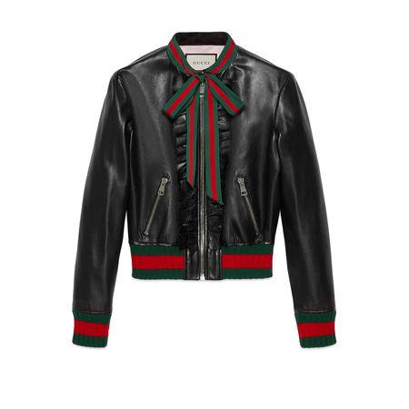 Gucci Bomberjacke aus Leder mit Rüschen schwarz
