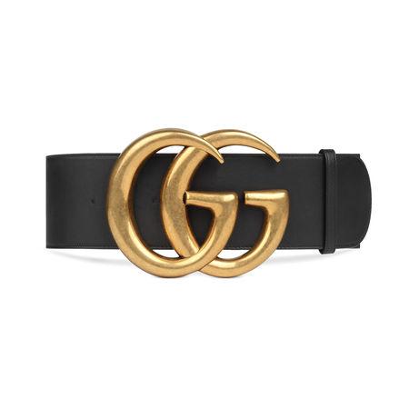 Gucci Breiter Ledergürtel mit GG-Schnalle grau