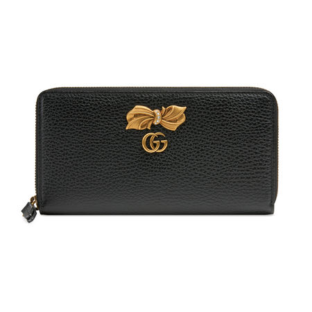 Gucci Brieftasche aus Leder mit Rundumreißverschluss und Schleife grau
