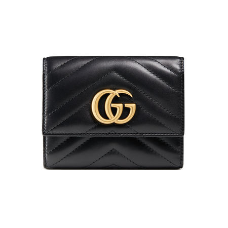 Gucci Brieftasche GG Marmont aus Matelassé-Leder schwarz