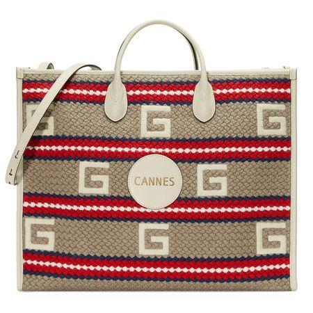 Gucci Cannes Shopper mit Streifenmuster braun