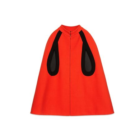 Gucci Cape aus Wolle mit Kontrastpaspelierung rot